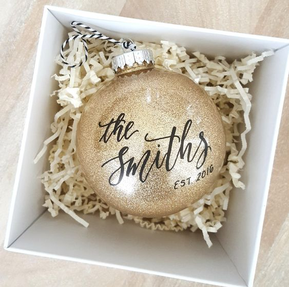 give your guests large metallic ornaments with your second name and wedding date, they will remind of your wedding