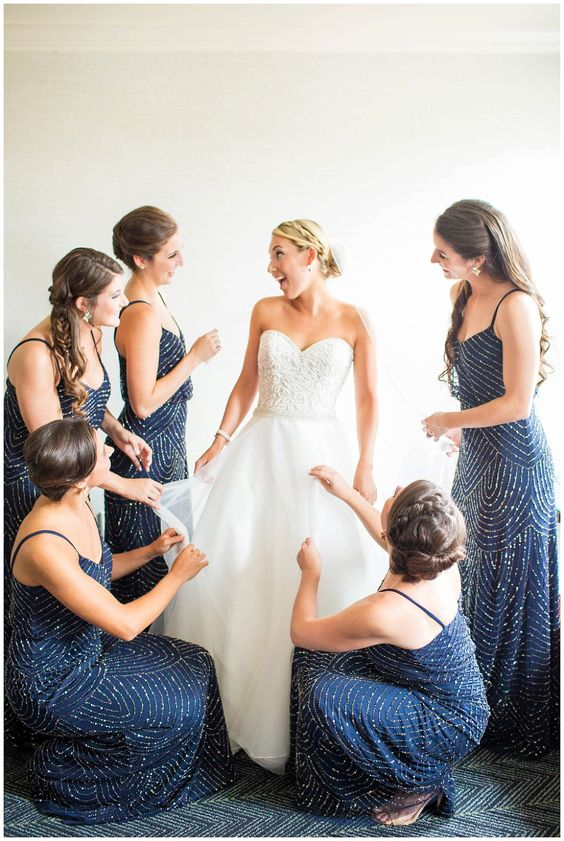 gorgeous navy and silver sequin bridesmaid slip dresses with spaghetti straps