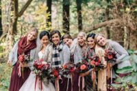 grey cardigans and various scarves for a cold fall wedding, they will fit a winter wedding, too