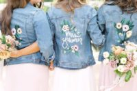 handpainted light blue denim jackets are an amazing coverup idea for summer and fall weddings