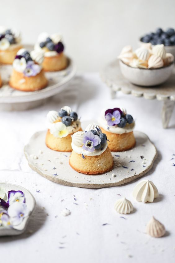 lemon curd, blueberry and almond teacakes are fresh and delicious, topped with edible blooms