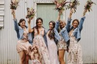 light blue denim jackets for the bride and her gals for a chilly summer wedding or a fall one