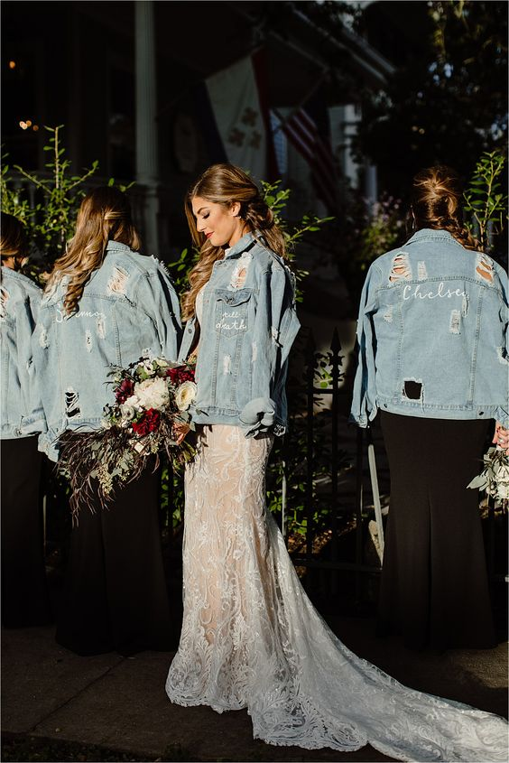 light blue distressed, hand painted and embroidered jackets for all the girls will add a relaxed touch to the looks