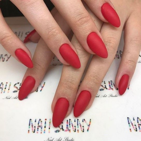 long matte red nails are timeless classics with a trendy touch for any winter wedding
