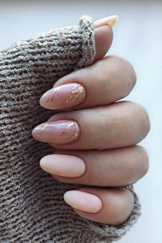 matte nude nails, nude and gold leaf marble nails are chic and elegant and look amazing