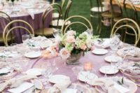 mauve velvet linens, pastel floral centerpieces and gilded touches made this tablescape amazing and very refined