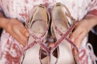 mauve velvet strappy shoes for a slight muted touch of color to the bridal look