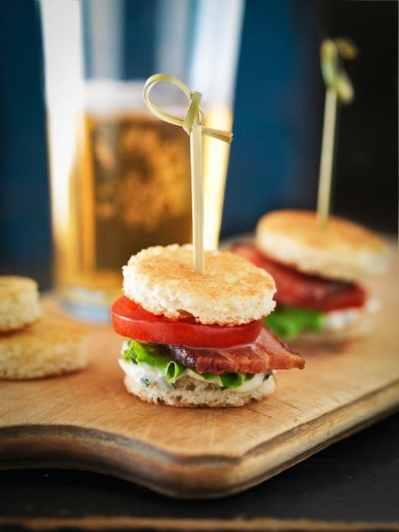 mini panini with tomatoes, bacon and herbs are a tasty and warming up idea fo a winter wedding appetizer