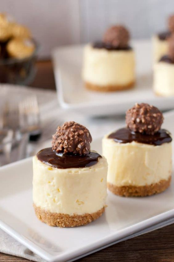 mini wedding cheesecakes with chocolate and Ferrero Rocher on top are fantastic and very sophisitcated