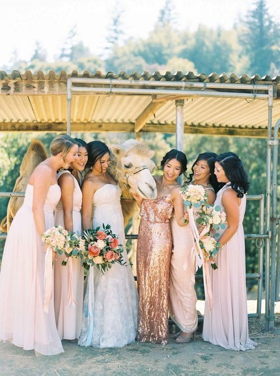 mismatching blush maxi gowns and a copper sequin maxi dress for the maid of honor