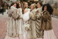 mismatching faux fur coats are amazing coverups for winter and Christmas weddings, they bring texture