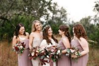 mismatching maxi mauve bridesmaid dresses look very chic and refined and timeless for bridesmaids