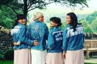personalized fringe, bead, embroidery light blue denim jackets for a boho wedding