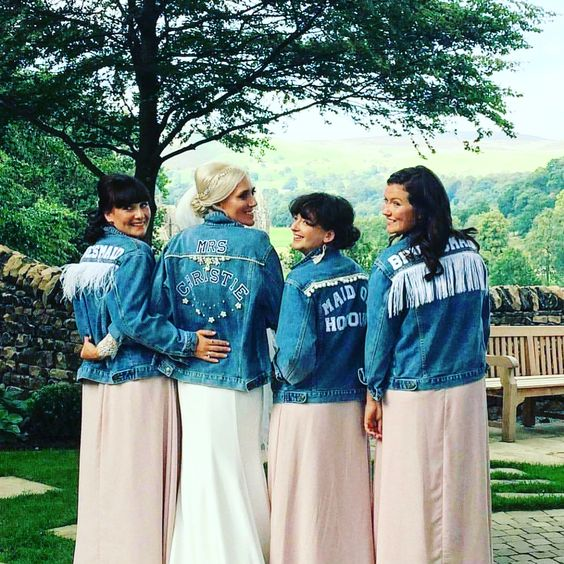 personalized fringe, bead, embroidery light blue denim jackets for a boho wedding