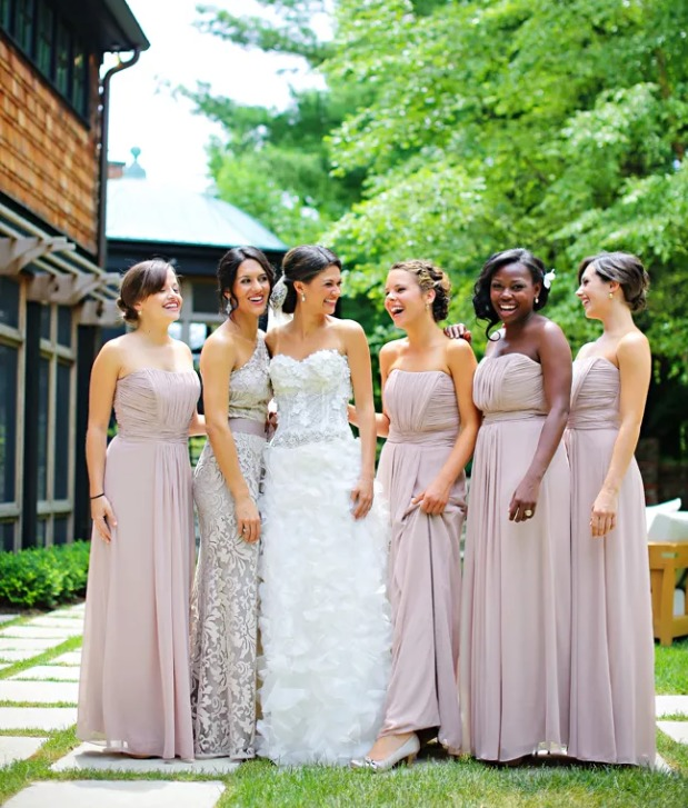 strapless lilac maxi dresses with draping and a lace neutral one shoulder dress that matches in color