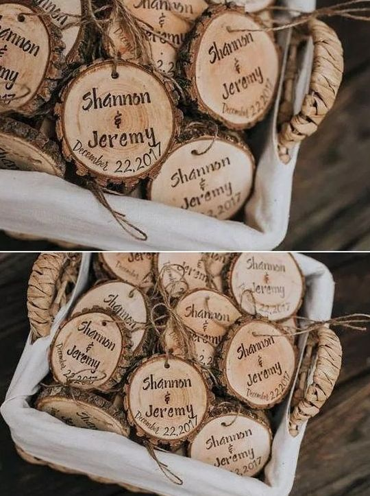 wood slices with a live edge and burnt names and dates can be signed up by the guests and hung on a Christmas tree or wherever you want