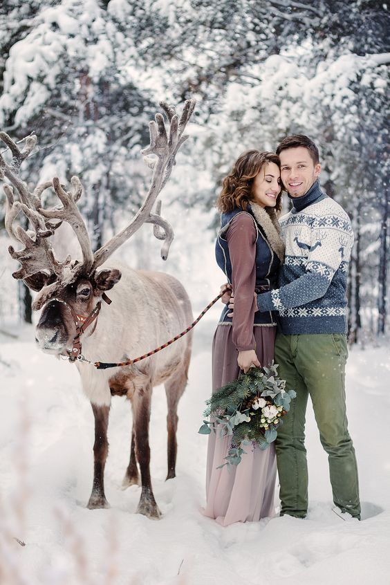 a Scandinavian winter groom's look with a bold blue and white printed sweater and green pants is very cozy and comfy