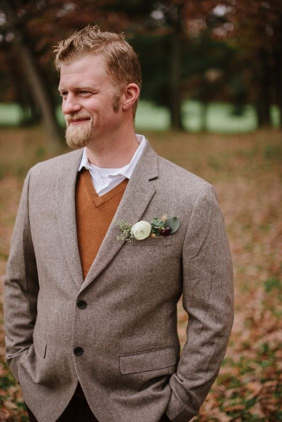 an amber jumper over a shirt and a neutral blazer over it for a comfy and warm outfit