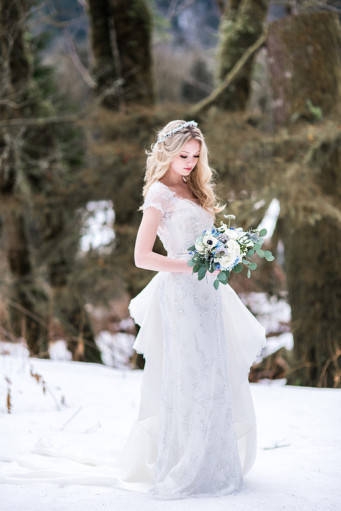 an embellished wedding dress with short sleeves and a ruffled overskirt on the back for an ice queen