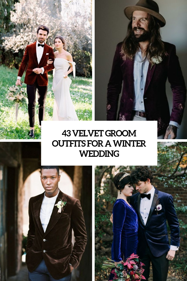 velvet groom outfits for a winter wedding cover