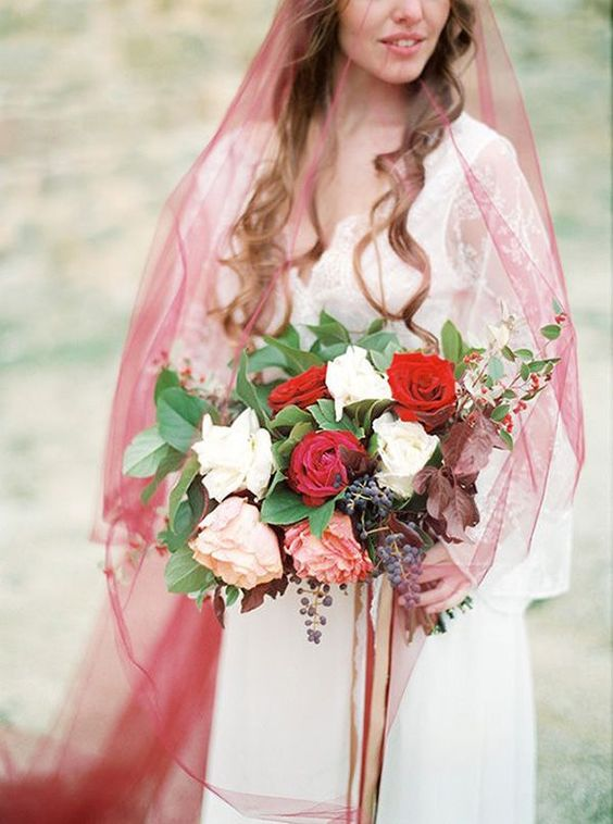 a marsala wedding veil will make your bridal look bold, chic and fall-inspired and will add a subtle touch of color