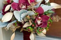 a refined wedding bouquet with marsala blooms, pale and dried foliage and berries is a cool idea for the fall