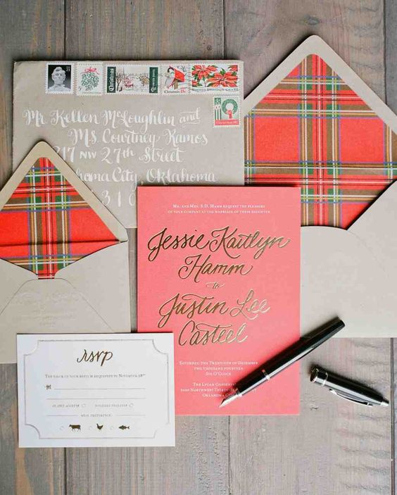 a tan and red plaid wedding invitation suite is a bold and chic idea for a winter or Christmas wedding
