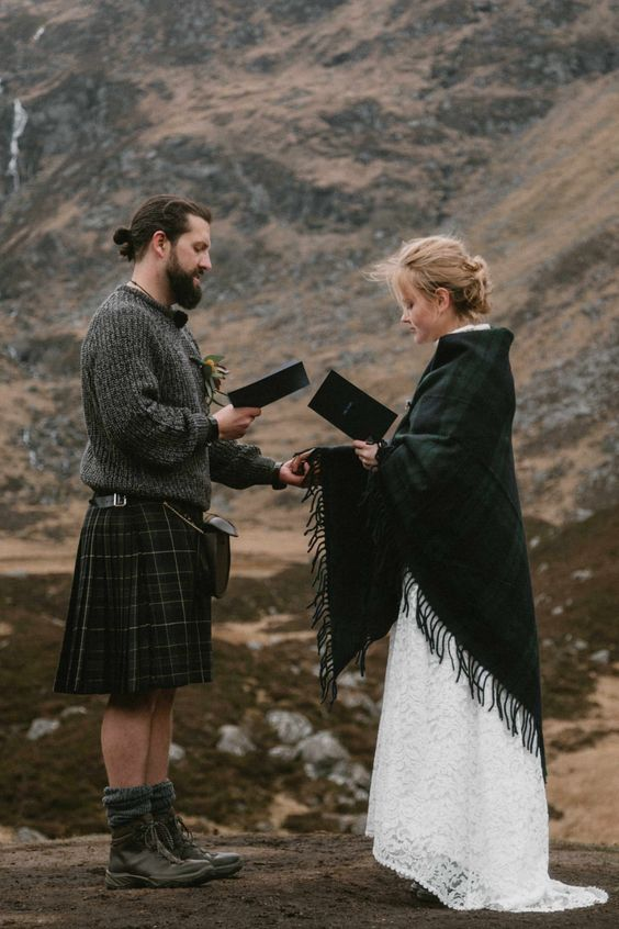 a tartan kilt and a matching fringe coverup for a truly Scottish elopement is a stylish way to give a nod to the heritage