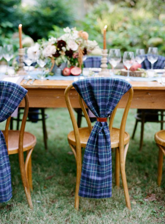 blue tartan covers for the chairs are great for a bold and cool look, they will match a garden wedding, for example