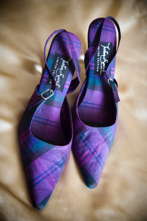bold purple, teal and pink tartan slingbacks are a bright and daring statement in your bridal look