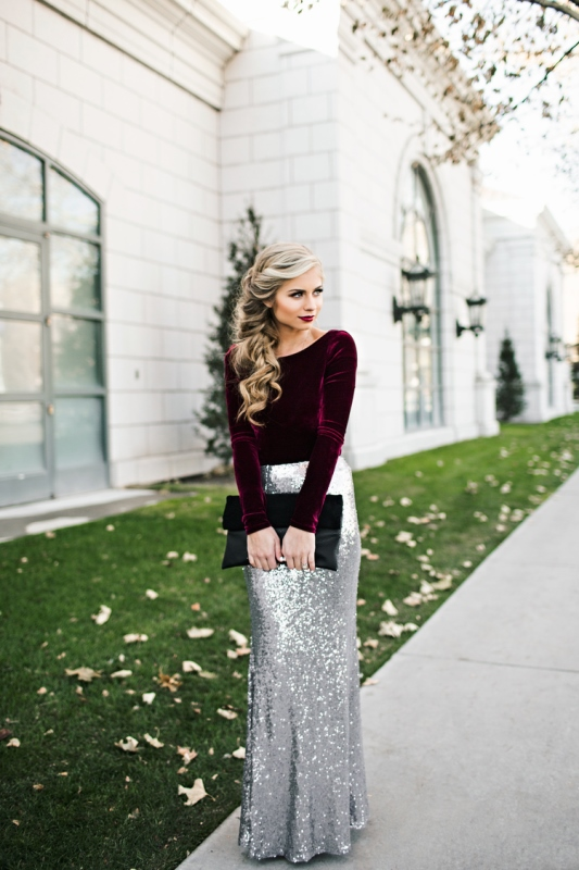 sequin maxi skirt, a purple velvet top and a cool side swept hairstyle will make your look wow