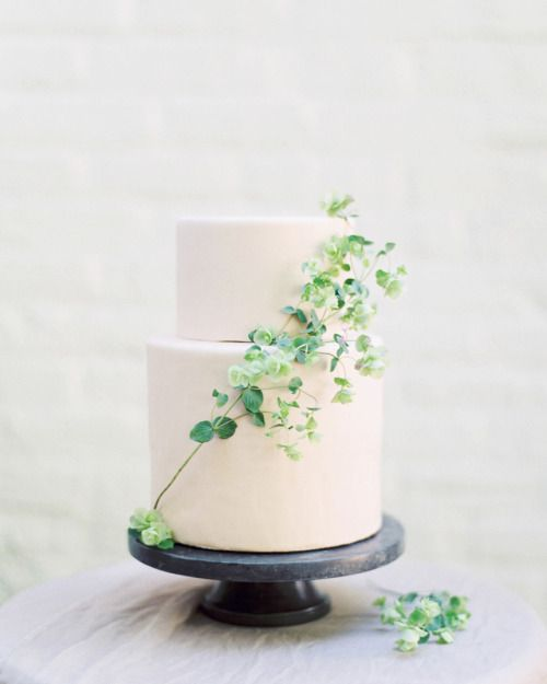 a blush minimalist wedding cake decorated with a greenery branch will work right for a summer or spring wedding