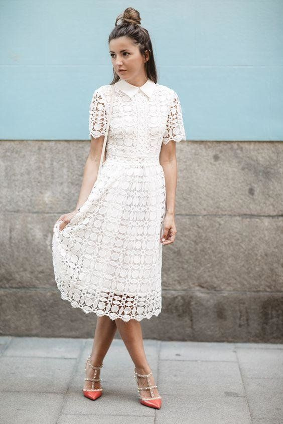 a boho lace A-line midi shirtdress with short sleeves, coral spiked heels is a bold and chic look for a bride