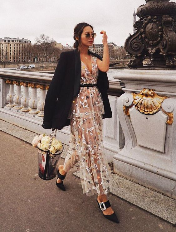 a floral embroidered midi dress, an oversized black tux, black shoes and a sheer bucket bag with blooms