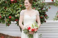 a refined vintage wedding dress with a draped bodice, pleated skirt and fully embellished cap sleeves is amazing