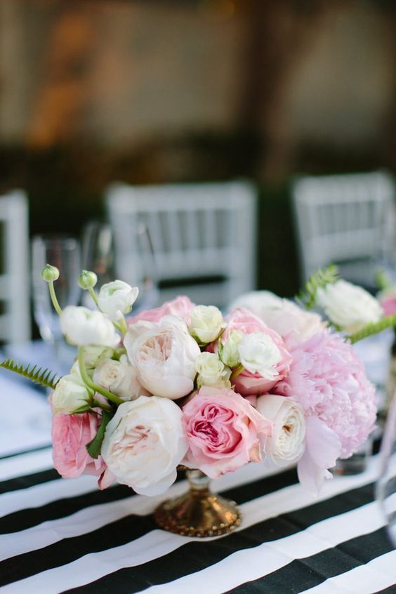 a tender blush, white and light pink floral centerpiece in a gold bowl is a chic and cute idea for Valentine weddings
