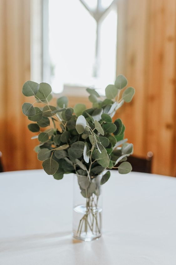a very minimal eucalyptus wedding centeriece in a clear vase will be a nice fit for a modern or minimalist wedding