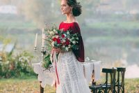 a burgundy plain top with wide bell sleeves, a white crochet lace A-line skirt for a bright fall bridal look