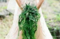a cascading greenery wedding bouquet of fern is a spectacular idea for a woodland or boho bride to rock