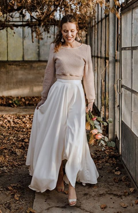 a casual bridal separate with a nude long sleeve top and a plain silk high low maxi skirt for a modern refined look