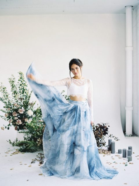 a gorgeous bridal separate of w white lace top and a watercolor blue maxi skirt for a modern bride