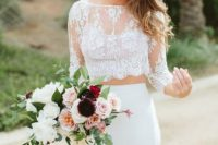 a lace crop top with long sleeves and a plain pencil skirt to create a chic and romantic look