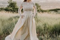 a lace top with long sleeves and a high neckline and a plain pleated maxi skirt for a creative and fashionable look