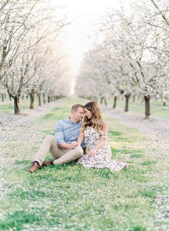 an almond orchard is a great place to take your engagement pics there, it's very romantic and spring-like