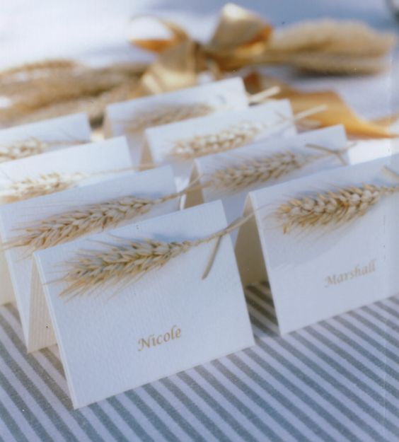 cards marked with wheat are perfect for a rustic wedding, you can DIY them