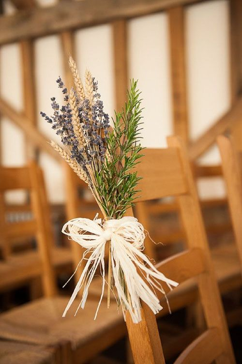 thyme, lavender and whear aisle chair decor is a chic and cool idea for a rustic wedding in summer