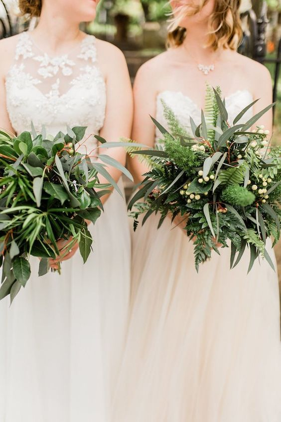 various greenery and foliage wedding bouquets with berries and ferns look very eye-catchy and very interesting