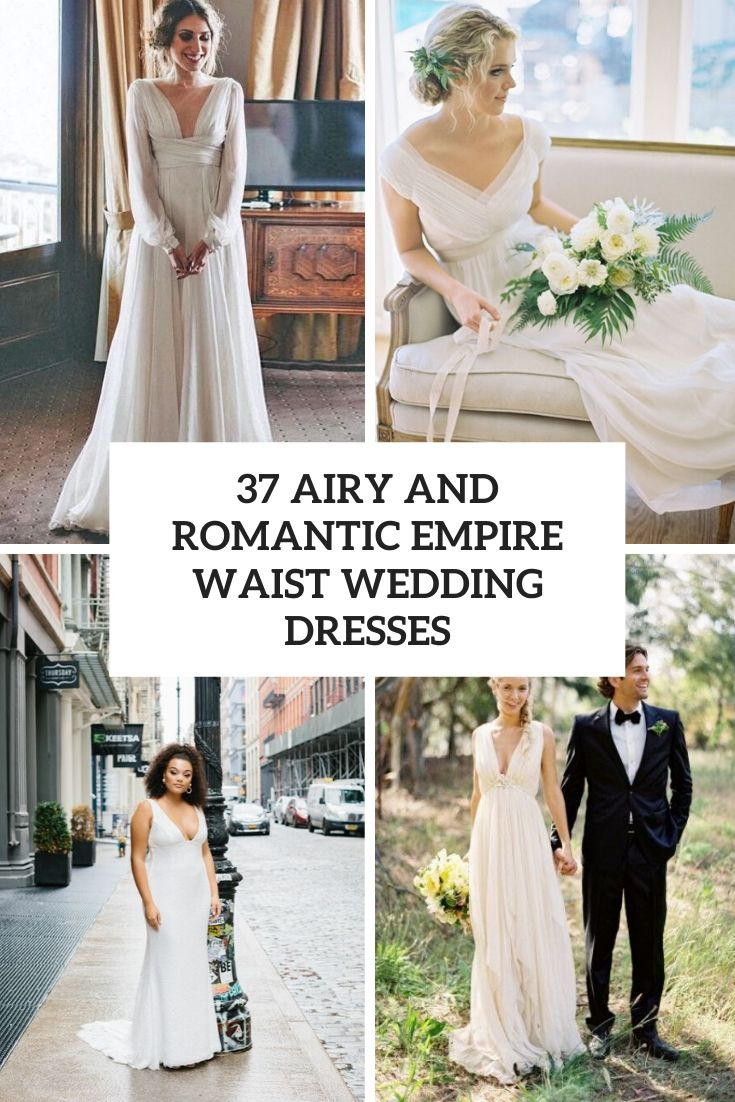 airy and romantic empire waist wedding dresses cover
