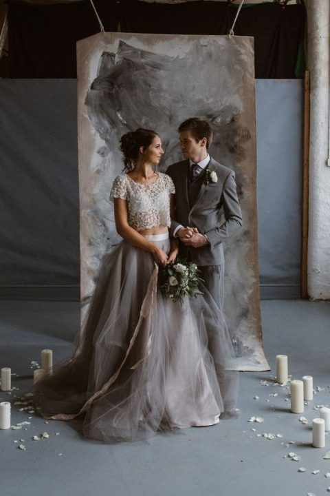 a glam bridal separate with an embellished cropped bodice and a layered graphite grey skirt