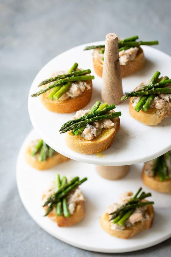 asparagus crostini with chickpeas and tarragon are delicious and vegetarian are cool